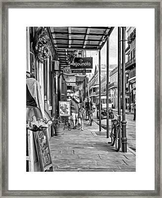 French Quarter Sidewalk Bw Framed Print by Steve Harrington