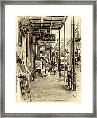 French Quarter Sidewalk - Sepia Framed Print by Steve Harrington