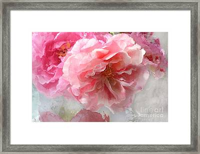 French Shabby Chic Romantic Impressionistic Pink Roses - Painted Pink French Roses Belle Fleur  Framed Print by Kathy Fornal