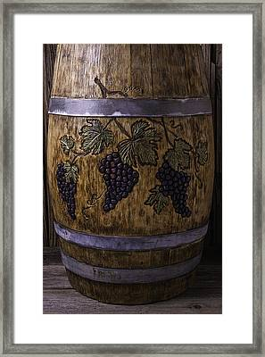 French Wine Barrel With Grapes Framed Print by Garry Gay