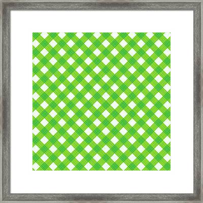 Fresh Green Gingham Fabric Cloth Framed Print by Natalia Ratselmeister