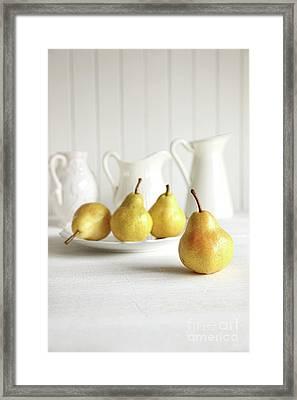 Fresh Pears On Old Table Framed Print by Sandra Cunningham