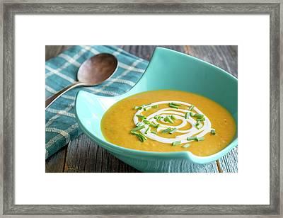 Fresh Pumpkin Squash Soup Framed Print by Teri Virbickis
