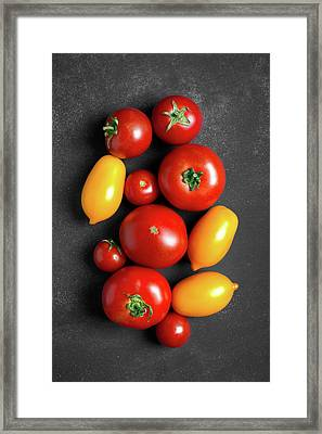 Fresh Tomatoes At The Center Of Chalkboard  Framed Print by Vadim Goodwill