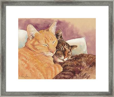 Frick And Frack Take A Nap Framed Print by Tracie Thompson