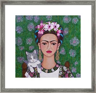Frida Cat Lover Closer Framed Print by Madalena Lobao-Tello