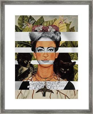 Frida Kahlo And Joan Crawford Framed Print by Luigi Tarini