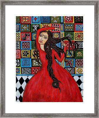 Frida Kahlo Flamenco Dancing  Framed Print by Rain Ririn
