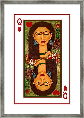 Frida Kahlo Queen Of Hearts Framed Print by Madalena Lobao-Tello