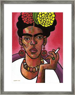 Frida Listening Framed Print by Douglas Simonson