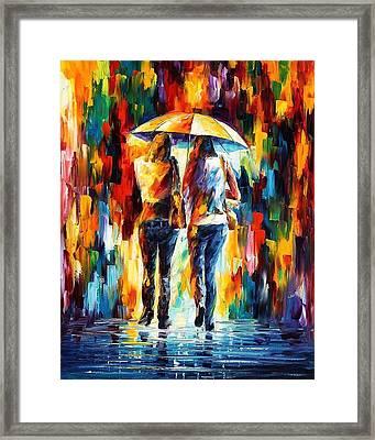 Friends Under The Rain Framed Print by Leonid Afremov