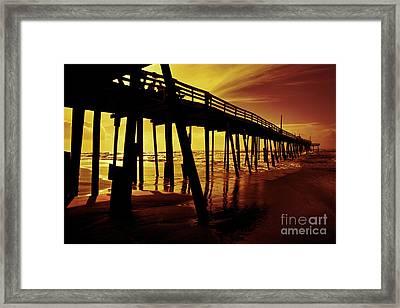 Frisco Pier On Obx At Sunrise Framed Print by Dan Carmichael