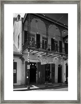 Fritzel's European Jazz Pub In Black And White Framed Print by Chrystal Mimbs