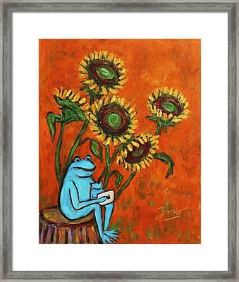Frog I Padding Amongst Sunflowers Framed Print by Xueling Zou