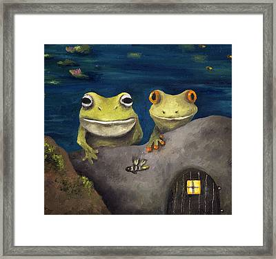 Frogland Detail Framed Print by Leah Saulnier The Painting Maniac