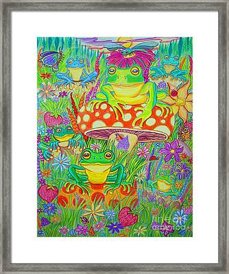 Frogs And Mushrooms Framed Print by Nick Gustafson