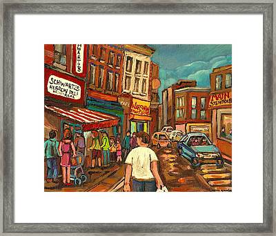 From Schwartz's To Warshaws To The  Main Steakhouse Montreal's Famous Landmarks By Carole Spandau  Framed Print by Carole Spandau