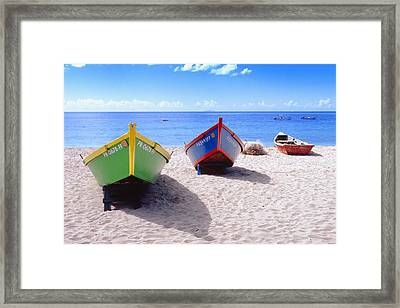 Frontal View Of Fishing Boats On Crash Boat Beach Puerto Rico Framed Print by George Oze