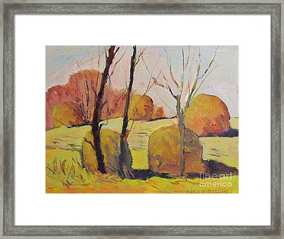 Frosted Haystacks Framed Print by Charlie Spear