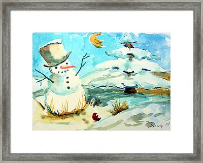 Frosty The Snow Man Framed Print by Mindy Newman
