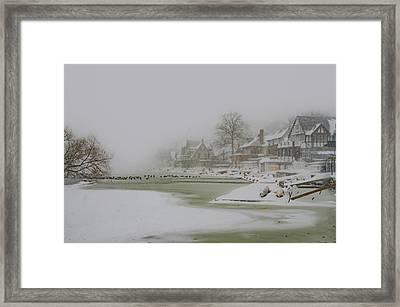 Frozen Boathouse Row In Philadelphia Framed Print by Bill Cannon
