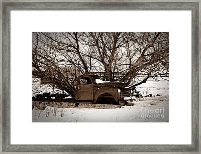 Frozen Memories Sepia Framed Print by Chalet Roome-Rigdon