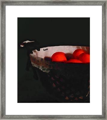 Fruit Basket And Black Framed Print by Miss Pet Sitter