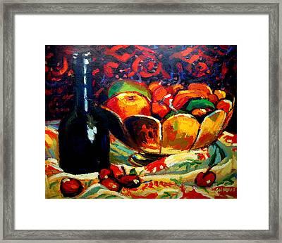 Fruit Bowl And Bottle Framed Print by Brian Simons