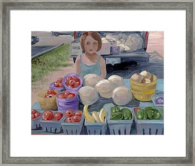 Fruit Stand Girl Framed Print by Cathy France