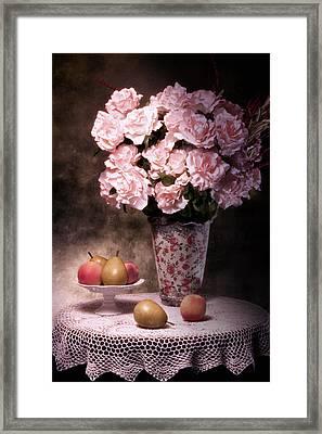 Fruit With Flowers Still Life Framed Print by Tom Mc Nemar