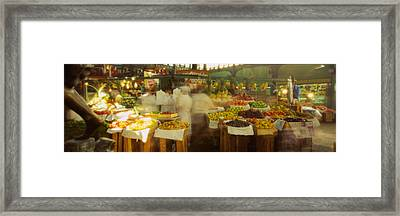 Fruits And Vegetables Stall In A Framed Print by Panoramic Images