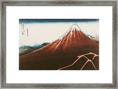 Fuji Above The Lightning Framed Print by Hokusai