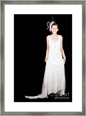 Full Body Portrait Of A Bride With Smile On Black Framed Print by Jorgo Photography - Wall Art Gallery
