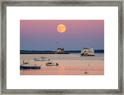 Full Hunter Moon Over Rockland Breakwater Framed Print by Tim Sullivan