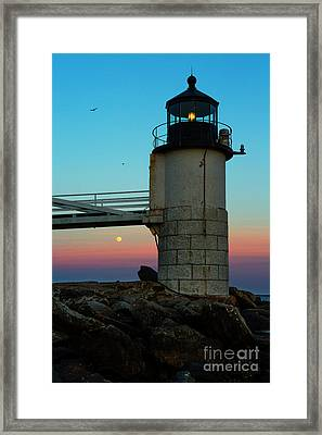 Full Moon At Marshall Point Lighthouse Framed Print by Diane Diederich