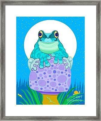 Full Moon Froggy  Framed Print by Nick Gustafson