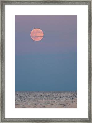 Full Moon Over Calm Sea Lavallette Nj Framed Print by Terry DeLuco