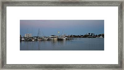 Full Moon Over Clearwater Beach Marina Framed Print by Bill Cannon