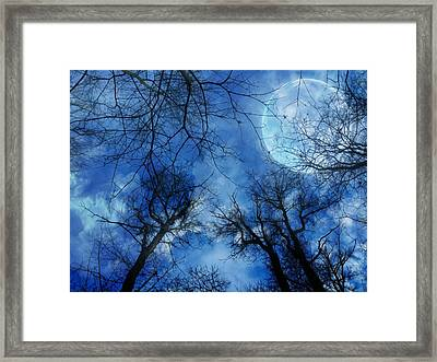 Full Moon Over Harrison  Framed Print by Shelley Smith