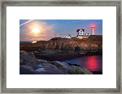 Full Moon Rise At Nubble Lighthouse Framed Print by Eric Gendron