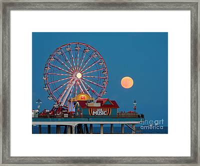 Full Moon Rising Above The Gulf Of Mexico - Historic Pleasure Pier - Galveston Island Texas Framed Print by Silvio Ligutti
