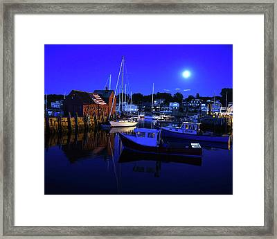 Full Moon Rising Over Motif  Number 1 Rockport Ma Blue Sky Framed Print by Toby McGuire