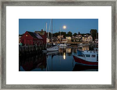 Full Moon Rising Over Motif  Number 1 Rockport Ma Moonrise Framed Print by Toby McGuire