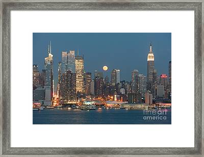Full Moon Rising Over New York City I Framed Print by Clarence Holmes