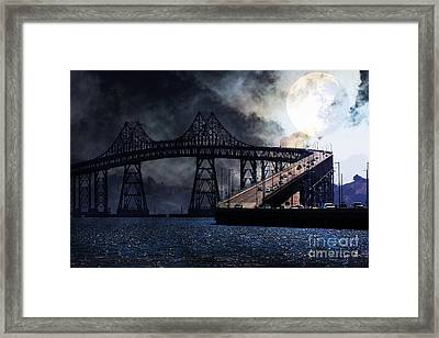 Full Moon Surreal Night At The Bay Area Richmond-san Rafael Bridge - 5d18440 Framed Print by Wingsdomain Art and Photography