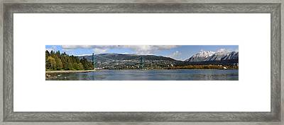 Full View Of The Lion's Gate Bridge Vancouver City  Framed Print by Pierre Leclerc Photography