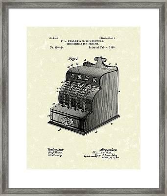 Fuller And Griswold Cash Register 1890 Patent Art Framed Print by Prior Art Design