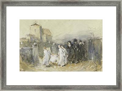 Funeral Of The First Born Framed Print by Frank Holl