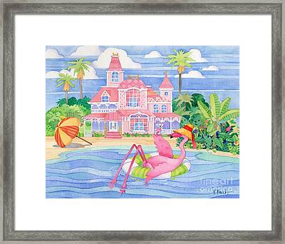 Funky Flamingo Hotel I Framed Print by Paul Brent