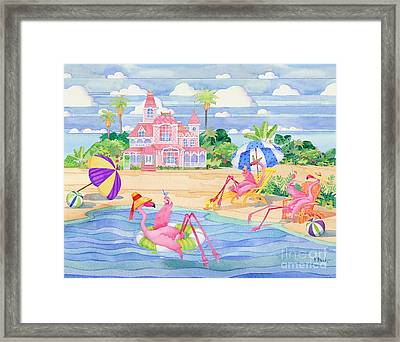 Funky Flamingo Hotel IIi Framed Print by Paul Brent